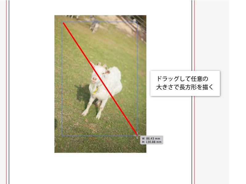 Illustratorの長方形ツールを選択し、トリミングしたい画像の上で任意の大きさにドラッグする。