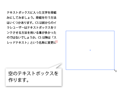 Illustratorで空のテキストボックスを作ります。