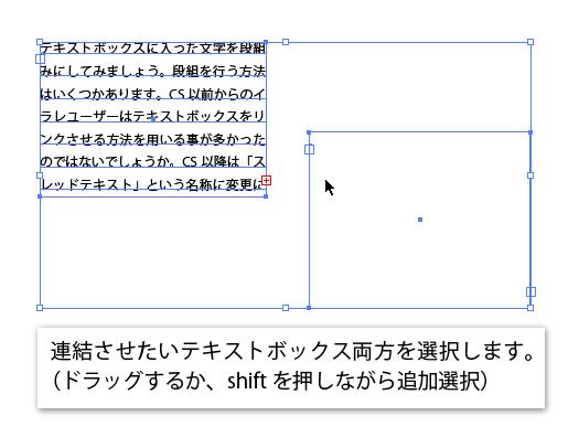 Illustratorで連結させたいテキストボックスを両方選択している画像