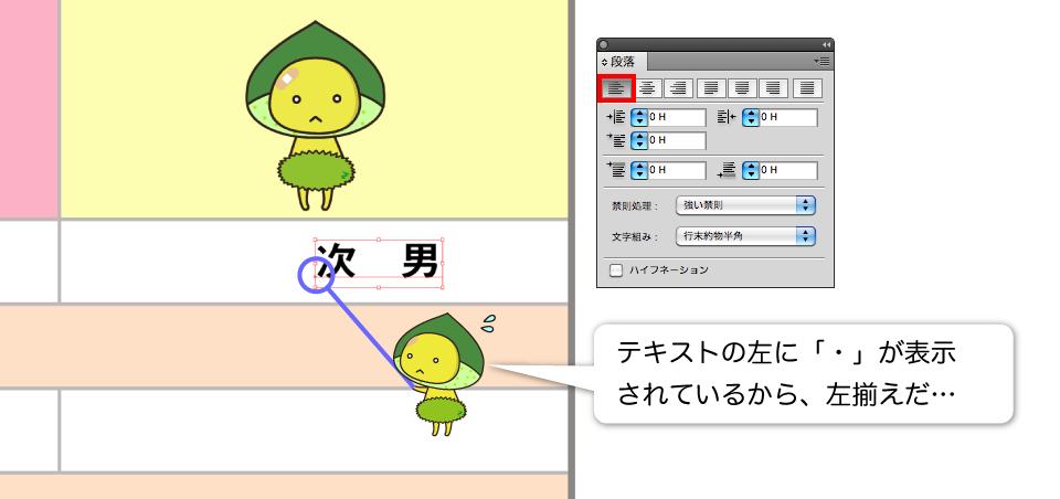 文字を左揃えにしているスクリーンショット画像
