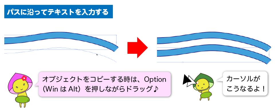 川のパスを真下にコピーしている図