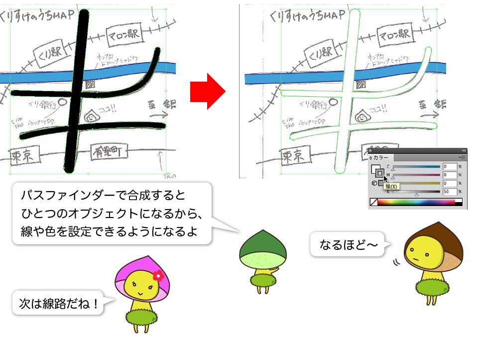 くーり:パスファインダーで合成するとひとつのオブジェクトになるから、線や色を設定できるようになるよ。くりすけ:なるほど〜